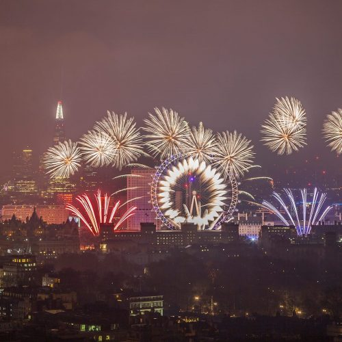 London fireworks by night