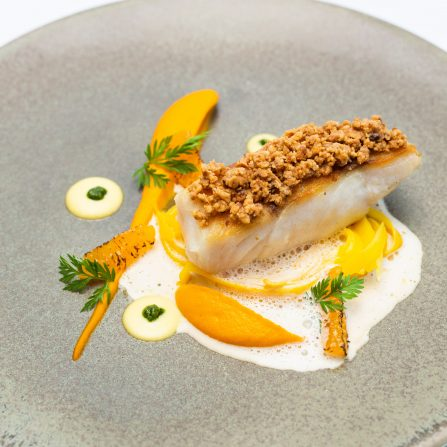 Pan-fried pollock, heritage carrot tagliatelle, carrot puree & hazelnut 1